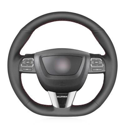 Loncky Car Custom Fit OEM Black Genuine Leather Steering Wheel Cover for Seat Leon (Cupra) MK2 1P 2009 2010 2011 2012 Accessories