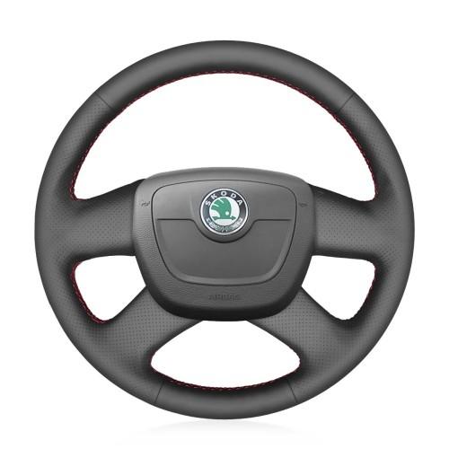 Loncky Auto Custom Fit OEM Black Genuine Leather Car Steering Wheel Cover for Skoda Octavia 2009-2013 Citigo 2011-2012 Roomster Fabia 2009-2012 Superb Yeti Accessories
