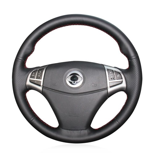 Loncky Auto Custom Fit OEM Black Genuine Leather Car Steering Wheel Cover for Ssangyong Korando 2011 2012 2013 2014 Accessories