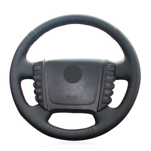 Loncky Auto Custom Fit OEM Black Genuine Leather Car Steering Wheel Cover for Ssangyong Rexton Rexton W Rodius Accessories