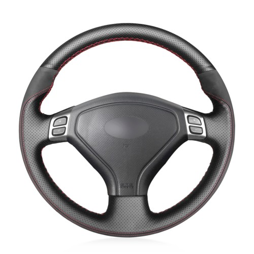 Loncky Auto Custom Fit OEM Black Genuine Leather Black Suede Steering Wheel Covers for Subaru Forester 2004 2005 2006 Outback 2004 2005 Legacy 2004 2005 2006 Accessories