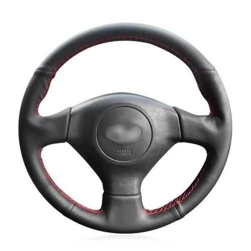 Loncky Auto Custom Fit OEM Black Genuine Leather Steering Wheel Covers for Subaru Forester 2005 2006 2007 2008 Subaru Impreza 2005 2006 2007 Subaru WRX STI Accessories