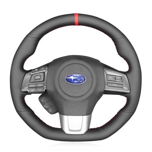 Loncky Auto Custom Fit OEM Black Genuine Leather Car Steering Wheel Cover for Subaru WRX 2015 2016 2017 2018 2019 Subaru Levorg 2015 2016 2017 2018 2019 Accessories