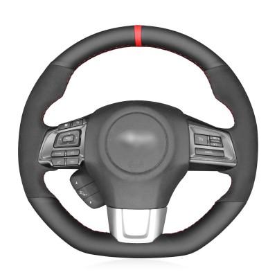 Loncky Auto Leather Custom Steering Wheel Cover for Subaru WRX 2015 2016 2017 2018 2019 Levorg 2015-2019 Interior Accessories