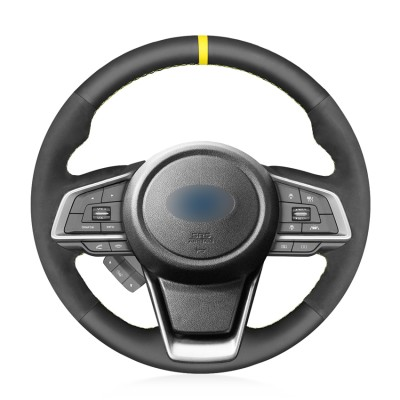 Loncky Auto Custom Fit OEM Black Genuine Leather Black Suede Steering Wheel Cover for Subaru Forester 2019 Ascent 2019 Crosstrek 2018 2019 Legacy 2018 2019 2020 Outback 2018 2019 2020 Impreza 2017 2018 2019 Accessories