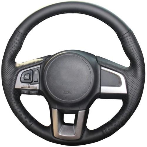 Loncky Custom Fit Car Black Genuine Leather Steering Wheel Cover for Subaru Legacy 2015 2016 2017 / Outback 2015 2016 2017 / Forester 2017 2018 / Crosstrek 2016 2017 Accessories