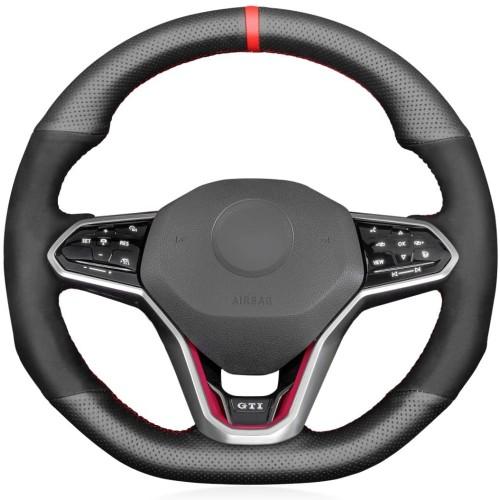 Loncky Custom Fit Black Genuine Leather Suede Car Steering Wheel Cover for Volkswagen VW Golf 8 MK8 GTI VW Golf GTE 2020 2021 Volkswagen Arteon R-Line 2021 Accessories
