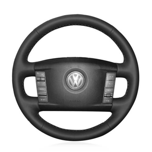 Loncky Auto Custom Fit OEM Black Genuine Leather Car Steering Wheel Cover for Volkswagen VW Phaeton 2004 2005 2006 2007 2008 2009 Accessories