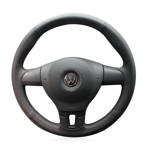 Loncky Auto Custom Fit OEM Black Genuine Leather Car Steering Wheel Cover for Volkswagen VW Tiguan Jetta Mk6 Lavida Passat B7 Accessories