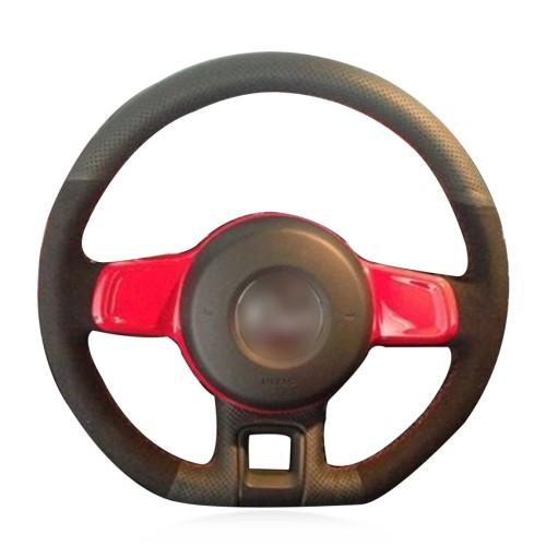 Loncky Auto Custom Fit OEM Black Genuine Leather Steering Wheel Cover for 2012 2013 2014 2015 2016 2017 2018 2019 Volkswagen VW Beetle Accessories