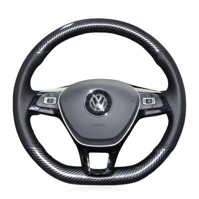 Loncky Auto Custom Fit OEM Black Genuine Leather Car Steering Wheel Cover for Volkswagen Atlas 2018 2019 2020 Accessories