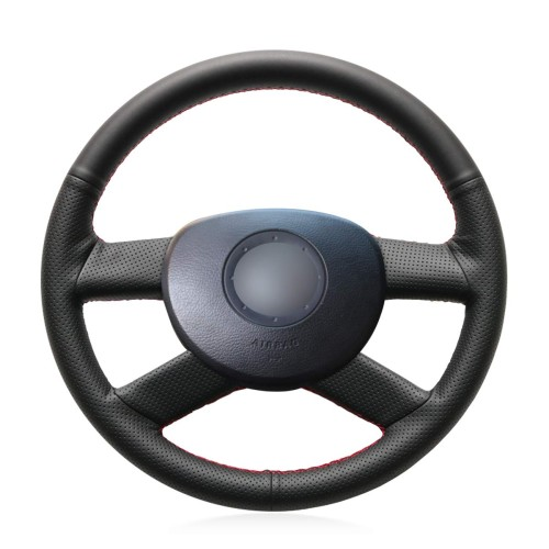 Loncky Auto Custom Fit OEM Black Genuine Leather Steering Wheel Cover for Volkswagen VW Polo 2003 2004 2005 2006 Accessories