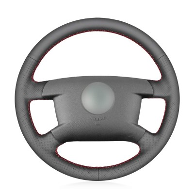 Loncky Car Custom Fit OEM Black Genuine Leather Steering Wheel Cover for Volkswagen VW Caddy 2003-2006 / VW Caravelle 2003 2004 2005 2006 2007 2008 2009