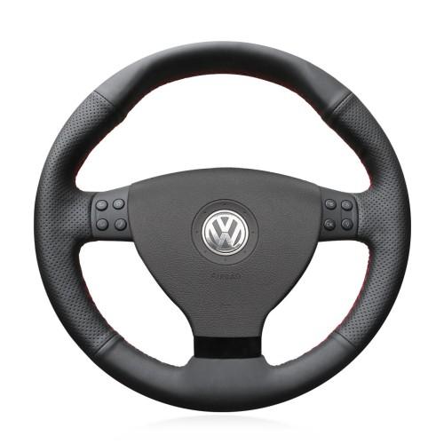 Loncky Auto Custom Fit OEM Black Genuine Leather Car Steering Wheel Cover for Volkswagen VW EOS MK5 2005 2006 2007 2008 Accessories