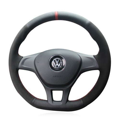 Loncky Auto Custom Fit OEM Black Genuine Leather Suede Car Steering Wheel Cover for Volkswagen VW Golf 7 Mk7 New Polo 2014 2015 2016 2017 Accessories