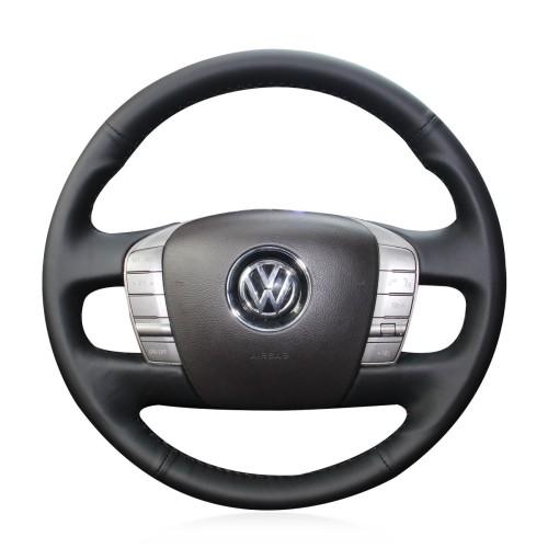 Loncky Auto Custom Fit OEM Black Genuine Leather Car Steering Wheel Cover for Volkswagen VW Phaeton 2011 2012 2013 2014 2015 Accessories