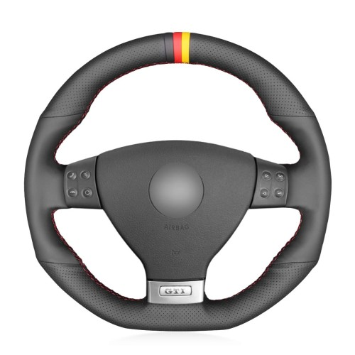 Loncky Auto Custom Fit OEM Black Genuine Leather Steering Wheel Cover for Volkswagen VW R32 2008 Volkswagen VW GTI Volkswagen VW Jetta GLI 2006 2007 2008 2009 Accessories