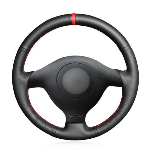 Loncky Auto Custom Fit OEM Black Genuine Leather Steering Wheel Cover for Volkswagen VW Golf 4 1998-2004 Passat B5 1996-2005 Polo 1999-2002 Seat Leon 1999-2004 Skoda Fabia RS 2003 Accessories