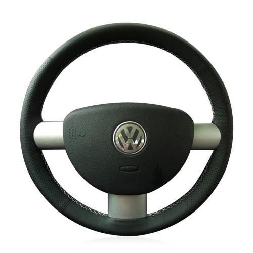 Loncky Auto Custom Fit OEM Black Genuine Leather Car Steering Wheel Cover for Volkswagen VW Beetle 2003 2004 2005 2006 2007 2008 2009 2010 Accessories