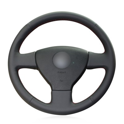 Loncky Genuine Leather Car Steering Wheel Cover for 2008 2009 Volkswagen VW Jetta S / 2005 2006 Volkswagen VW Jetta TDI / 2005-2007 Volkswagen VW Jetta 2.5 / 2006-2009 Volkswagen VW Rabbit Accessories