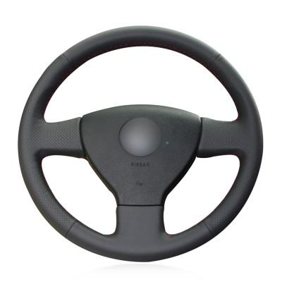 Loncky Genuine Leather Car Steering Wheel Cover for 2008 2009 Volkswagen VW Jetta S / 2005 2006 Volkswagen VW Jetta TDI / 2005-2007 Volkswagen VW Jetta 2.5 / 2006-2009 Volkswagen VW Rabbit Accessories