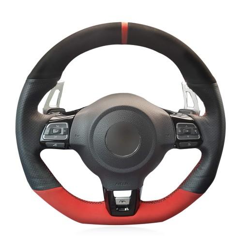 Loncky Auto Custom Fit OEM Black Genuine Leather Black Red Suede Steering Wheel Cover for 2010-2014 Volkswagen VW GTI / 2012-2014 VW Jetta GLI / 2012 2013 VW Golf R / 2014 2015 2016 VW Tiguan R-Line Accessories