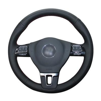 Loncky Auto Custom Fit OEM Black Genuine Leather Car Steering Wheel Cover for Volkswagen VW GOL Tiguan Passat B7 Passat CC Touran Jetta Mk6 Accessories