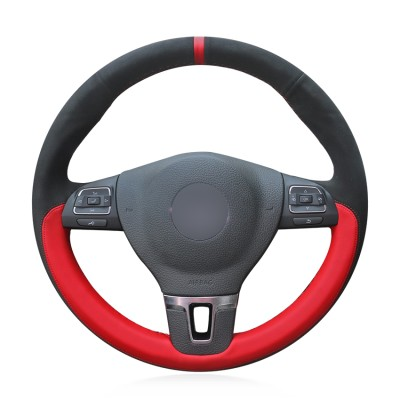 Loncky Auto Custom Fit OEM Black Red Suede Leather Car Steering Wheel Cover for Volkswagen VW GOL Tiguan Passat B7 Passat CC Touran Jetta Mk6 Accessories