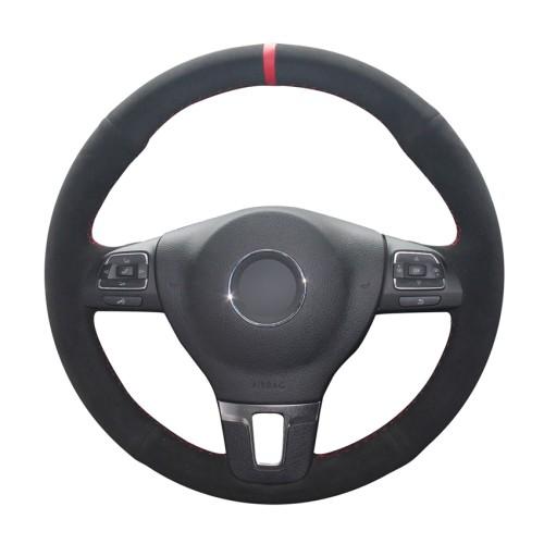 Loncky Auto Custom Fit OEM Black Suede Leather Car Steering Wheel Cover for Volkswagen VW GOL Tiguan Passat B7 Passat CC Touran Jetta Mk6 Accessories