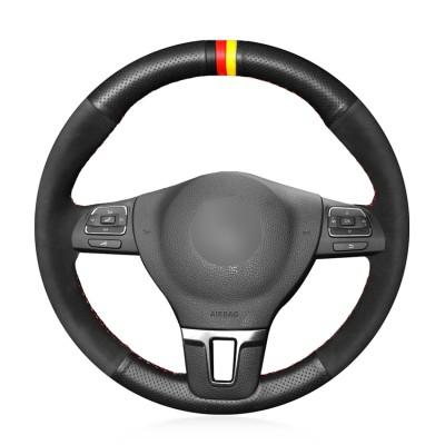 Loncky Auto Custom Fit OEM Black Genuine Leather Suede Car Steering Wheel Cover for Volkswagen VW GOL Tiguan Passat B7 Passat CC Touran Jetta Mk6 Accessories