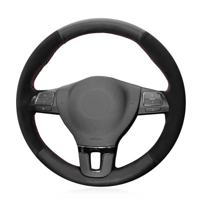 Loncky Auto Custom Fit OEM Black Genuine Leather Suede Car Steering Wheel Cover for Volkswagen VW GOL Tiguan Passat B7 Passat CC Touran Jetta Mk6 Accessories