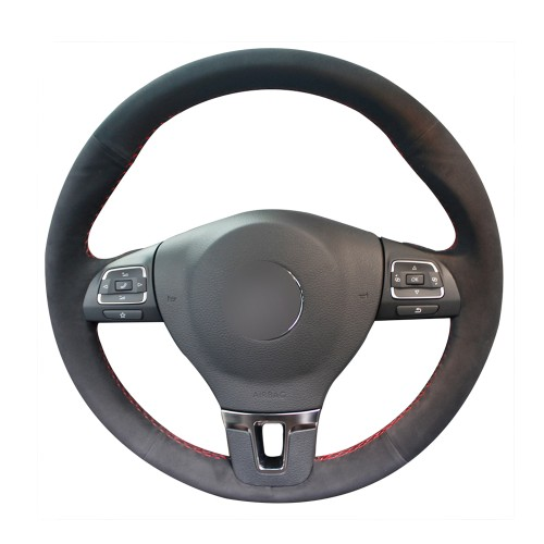 Loncky Auto Custom Fit OEM Black Suede Leather Car Steering Wheel Cover for Volkswagen VW GOL Tiguan Passat B7 Passat CC Touran Jetta Mk6 Accessories
