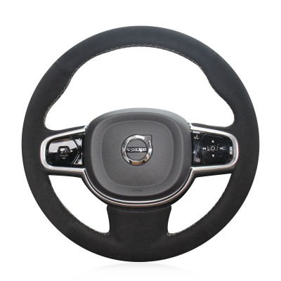 Loncky Auto Custom Fit OEM Black Suede Car Steering Wheel Cover for Volvo XC90 2016 2017 2018 2019 2020 Interior Accessories Parts