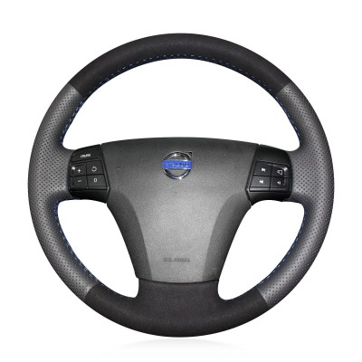 Loncky Auto Custom Fit OEM Black Genuine Leather Suede Car Steering Wheel Cover for Volvo S40 2006 2007 2008 2009 2010 2011 2012 Volvo V50 2005-2011 Accessories