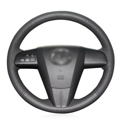 Loncky Auto Custom Fit OEM Black Genuine Leather Steering Wheel Covers for 2010-2013 Mazda Mazda3 /2011-2013 Mazda6 /2012-2015 Mazda5 / 2011 2012 2013 Mazda CX-7 / 2010 2011 2012 2013 2014 2015 Mazda CX-9 Accessories