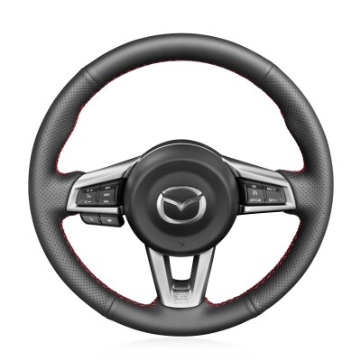 Loncky Auto Custom Fit OEM Black Genuine Leather Car Steering Wheel Cover for Mazda MX-5 MX5 2016 2017 2018 2019 Accessories
