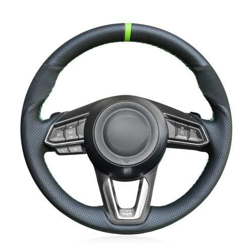 Loncky Auto Custom Fit OEM Black Genuine Leather Black Suede Steering Wheel Covers for Mazda 3 Axela 2017-2019 Mazda 6 Atenza 2017-2020 Mazda CX-5 CX5 2017-2020 Mazda Mazda CX-9 CX9 2016-2020 Toyota Yaris 2019 2020 Accessories