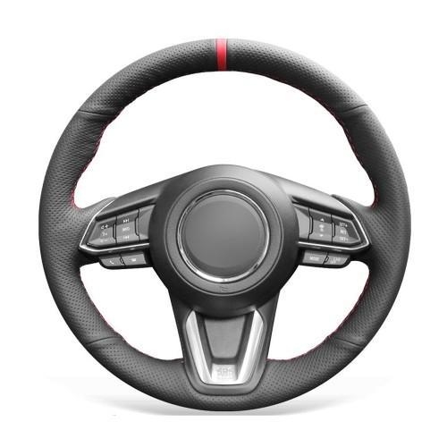 Loncky Auto Custom Fit OEM Black Genuine Leather Car Steering Wheel Cover for Mazda 3 Axela 2017-2019 Mazda 6 Atenza 2017-2020 Mazda CX-5 CX5 2017-2020 Mazda Mazda CX-9 CX9 2016 2017 2018 2019 2020 Accessories