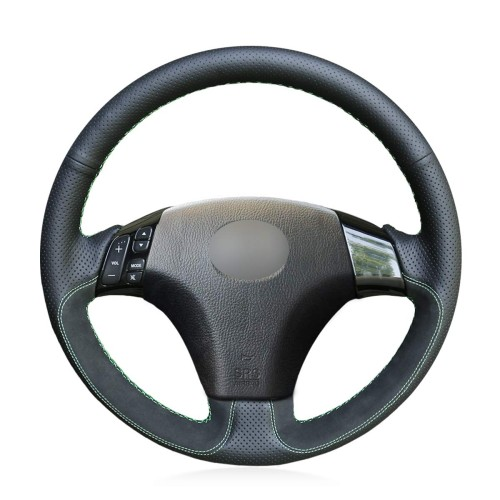 Loncky Auto Custom Fit OEM Black Genuine Leather Steering Wheel Covers for Mazda 3 Axela 2004-2009 Mazda 5 2004-2010 Mazda 6 Atenza Mazda MPV Accessories