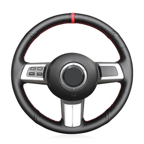 Loncky Auto Custom Fit OEM Black Genuine Leather Car Steering Wheel Cover for Mazda MX-5 MX5 2006 2007 2008 2009 2010 2011 2012 2013 2014 2015 Mazda RX-8 RX8 2009 2010 2011 Mazda CX-7 CX7 2007 2008 2009 Accessories
