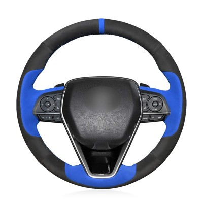 Loncky Auto Custom Fit OEM Black with Blue Suede Steering Wheel Covers for Toyota Camry 2018-2019 Avalon 2019 Corolla 2019-2020 RAV4 2019 Accessories