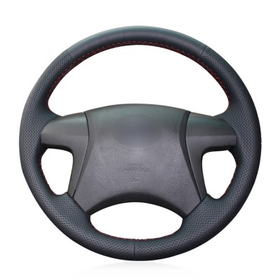 Loncky Auto Black Genuine Leather Car Custom Fit Steering Wheel Cover for 2007 2008 2009 2010 2011 Toyota Camry / 2008 2009 2010 2011 2012 2013 Toyota Highlander Interior Accessories
