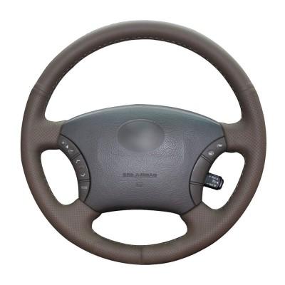 Loncky Auto Custom Fit OEM Brown Genuine Leather Car Steering Wheel Cover for Lexus GX470 2003-2009 Lexus LX470 1998 1999 2000 2001 2002 2003 2004 2005 2006 2007 Lexus LX450 1996 1997 Interior Accessories