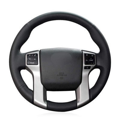 Loncky Auto Black Genuine Leather Custom Steering Wheel Covers for Toyota Tacoma 2012-2021 / Toyota Tundra 2014-2021 / Toyota 4Runner 2010 2011 2012 2013 2014 2015 2016 2017 2018 2019 2020 2021 / Toyota Sequoia 2014-2021 Accessories