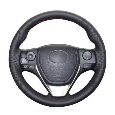 Loncky Auto Black Genuine Leather Custom Fit Steering Wheel Covers for Toyota RAV4 2013-2019 / Corolla 2014-2019 / Corolla iM (US) 2017-2018 / Auris 2013-2016/ for Scion iM 2016 Accessories