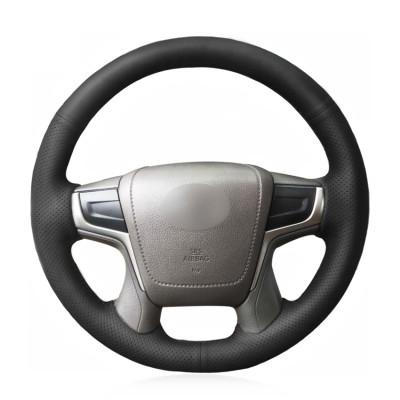 Loncky Auto Custom Fit OEM Dark Gray Black Genuine Leather Steering Wheel Cover for Toyota Land Cruiser V8 2016 2017 2018 2019 2020 2021 Land Cruiser Prado 2018 Accessories