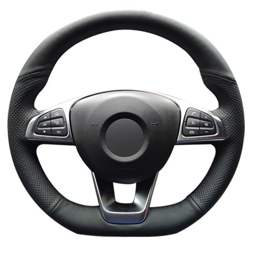 Loncky Auto Custom Fit Black Genuine Leather Black Suede Steering Wheel Cover for Mercedes Benz C300 C400 C450 / CLA250 CLS400 CLS550 / Mercedes Benz GLC300 GLE400 / SL450 SL550 / SLC300 Accessories