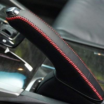 Loncky Car Black Genuine Leather Custom Fit Handbrake Cover for Honda Acura TSX Interior Accessories