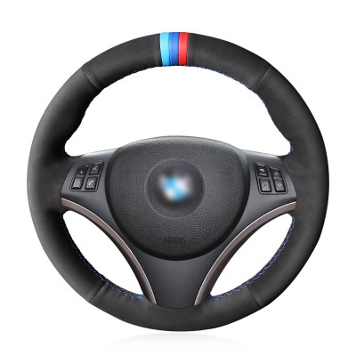 Loncky Auto Black Suede Custom Fit Car Steering Wheel Cover for BMW 128i 135i BMW 325i 328i BMW 328 xi BMW 328 i xDrive BMW 330 xi BMW 335i 335 xi BMW 335 d BMW 335 i xDrive Accessories Parts