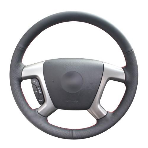 Loncky Auto Genuine Leather Steering Wheel Covers for 2007 2008 2009 2010 2011 2012 2013 Chevrolet Silverado 1500 2007 2008 2009 2010 2011 2012 2013 2014 Chevrolet Silverado 2500 3500 Chevy Silverado Accessories